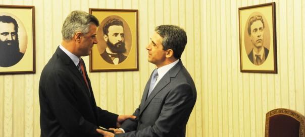 Kosovo PM Hashim Thaci meeting Bulgarian President Rosen Plevneliev