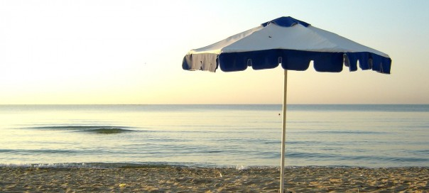 Umbrella on a sandy beach in Varna Bulgaria