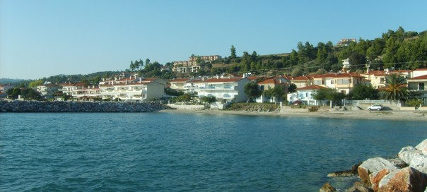 Beachside housing in the Chalkidiki peninsula Greece
