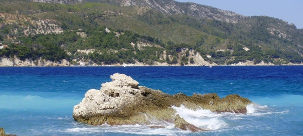 The Aegean Sea at the beach of Kokkari, island of Samos, Greece