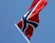 Norwegian flag blowing in the wind
