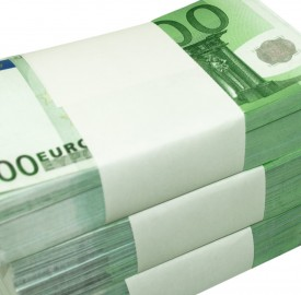wads of 100 euro notes bound in stacks
