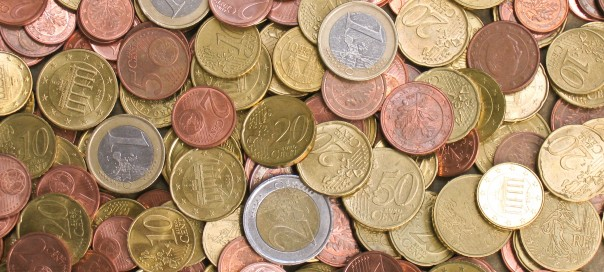 euro coins of various values