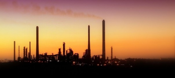 oil refinery on a sunset or sunrise background