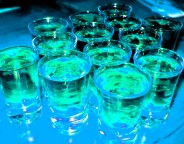 tequila shot glasses on a bar counter
