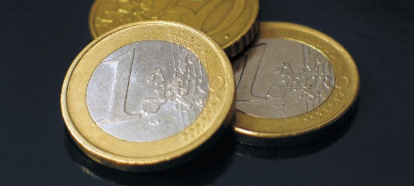 three euro coins two one euro and a 50 euro cent coin