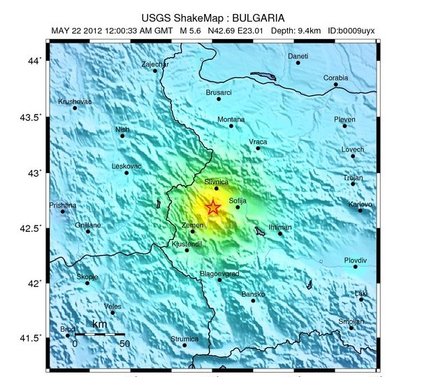 pernik earthquake may 22 2012 map by united states geological survey ...