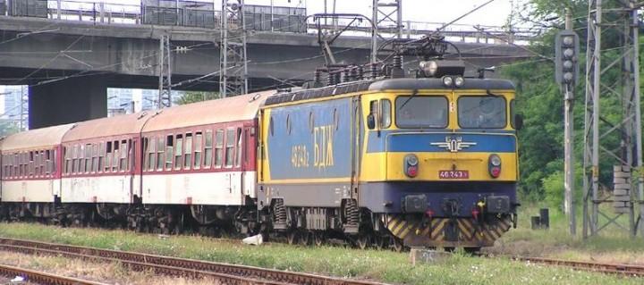 BDZ train leaving the railway station at Bourgas on Bulgaria's Black Sea coast. Photo: Railroader96