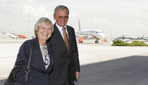 Marcie Ries, left, arrives in Sofia, September 28 2012. Photo: US embassy