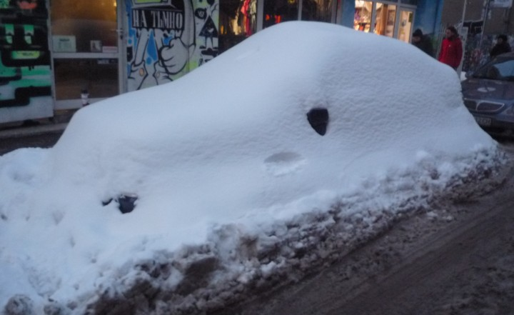 car under snow in Sofia photo CLS