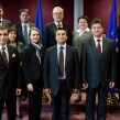Group photo in the presence of Pavlo Klimkin, in the centre, and Miroslav Lajčák, 2nd from the right (in the 1st row)