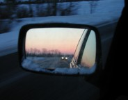 winter driving rear view mirror photo Morten Bech