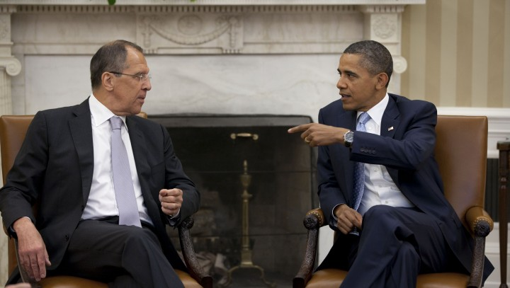 President Barack Obama meets with Russian Foreign Minister Sergey Lavrov in the Oval Office, July 13, 2011. (Official White House Photo by Pete Souza)