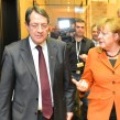 Cyprus president Nicos Anastasiades, left, talks to German chancellor Angela Merkel at a summit in January 2013. Photo: European People's Party via flickr.com