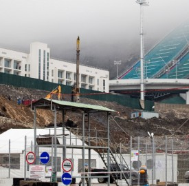 Given the conflicted neighborhood, Olympic planners implanted tight security from day one. Here fencing and gates surround around the construction site of the Olympic ski jumps. VOA Photo: Vera Undritz