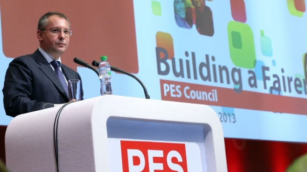 Sergei Stanishev at the PES congress, Sofia, June 22. Photo: BSP