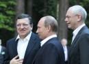 Left to right: European Commission president Jose Manuel Barroso, Russian president Vladimir Putin and European Council president Herman Van Rompuy during the June 2013 EU-Russia summit in Yekaterinburg. Photo: European Commission