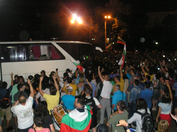 The July 23 clash between police escorting a busload of MPs, and anti-government protesters. Photo: Clive Leviev-Sawyer
