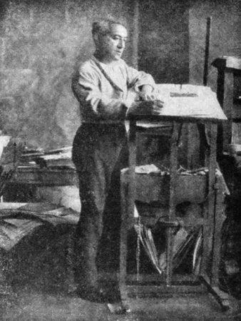 Jules Pascin in his studio, 1930.
