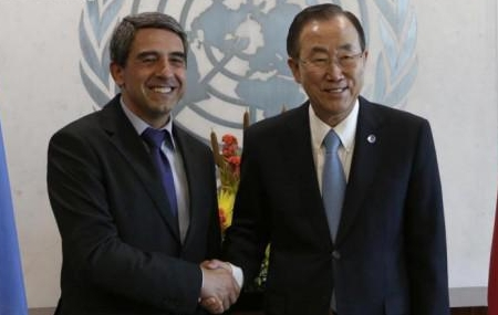 Bulgarian President Rossen Plevneliev and UN Secretary-General Ban Ki-moon at UN headquarters in New York, September 22 2013. Photo: president.bg