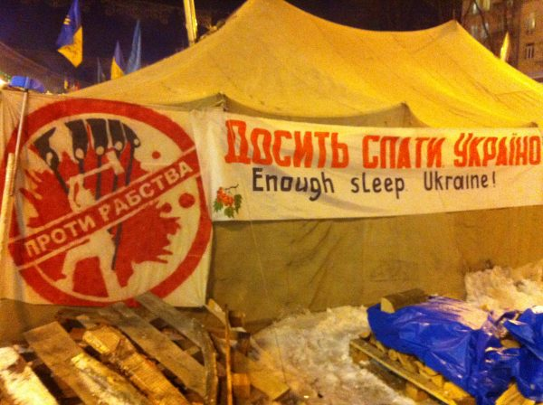 On a tent in Kyiv's Maidan Square, the symbol, alluding to Moscow, reads: 'Stop Slavery'. A favorite chant on the Maidan is: 'No to Moscow Imperialism'. VOA Photo: James Brooke