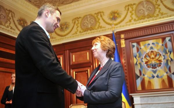 Vitali Klitschko and EU foreign policy chief Catherine Ashton in Kyiv, February 24 2014. Photo: EC Audiovisual Service
