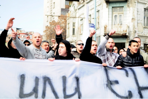 The march in Plovdiv on February 14 2014 that saw the mosque in the centre of the city attacked by a stone-throwing mob. Photo: (c) Podtepeto.com