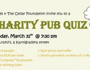 Cedar Foundation pub quiz March 31 2014