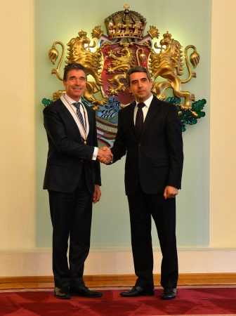 Nato Secretary General Anders Fogh Rasmussen in Sofia on April 11 after receiving Bulgaria's highest order, the Stara Planina first class, from President Rossen Plevneliev.  Photo: Nato