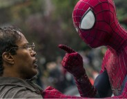 Still of Jamie Foxx and Andrew Garfield in The Amazing Spider-Man 2. Photo by Niko Tavernise - © 2013 Columbia Pictures Industries, Inc. All Rights Reserved.