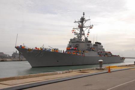 The Arleigh Burke-class guided missile destroyer USS Donald Cook