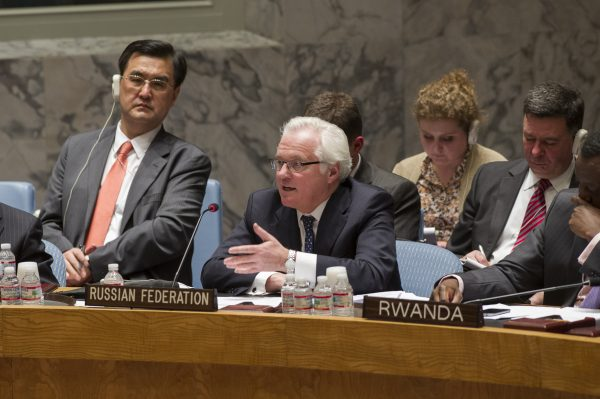 Vitaly I. Churkin (center), Permanent Representative of the Russian Federation to the UN. Photo: UN Photo: Eskinder Debebe