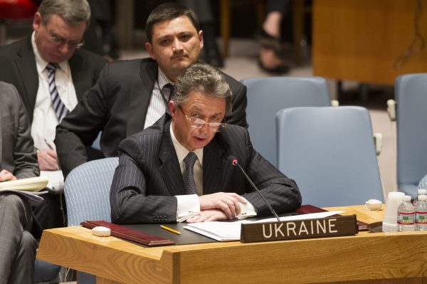 Yuriy Sergeyev, Permanent Representative of Ukraine to the UN, addresses the Security Council meeting on the situation in Ukraine. Photo: UN Photo/Eskinder Debebe