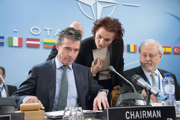 NATO Secretary Anders Fogh Rasmussen with Ambassador Csilla Wurtz (Council Secretary and Head of Protocol) and Ambassador Thrasyvoulos Terry Stamatopoulos (Assistant Secretary General for Political Affairs and Security Policy)