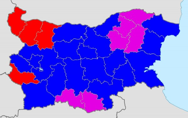 Preliminary results for Bulgaria's 2014 European Parliament elections. Districts won by GERB are in blue, BSP in red, MRF in purple. For comparison to the 2013 parliamentary elections in Bulgaria, click here.