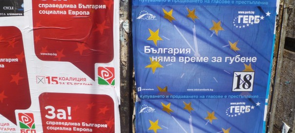 Bulgarian European Parliament elections 2014 GERB and BSP posters photo Clive Leviev-Sawyer