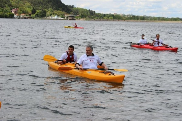 Ivailo Kalfin kayaking in a campaign event ahead of the 2014 European Parliament elections.