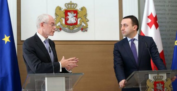 Van Rompuy at a May 14 2014 meeting with the prime minister of Georgia, Irakli Garibashvili.  Photo: Government of Georgia