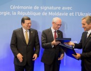 Left to right: European Commission president Jose Manuel Barroso, European Council president Herman van Rompuy and Moldovan prime minister Iurie Leanca after the association agreement signing ceremony on June 27 2014. Photo: The Council of the European Union.