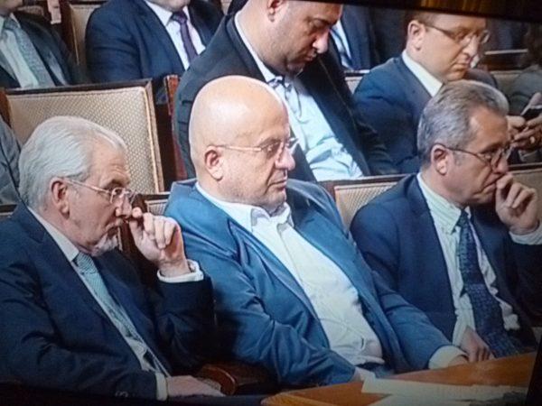 MRF leader Lyutvi Mestan, left, and MRF MPs Chetin Kazak and Yordan Tsonev.