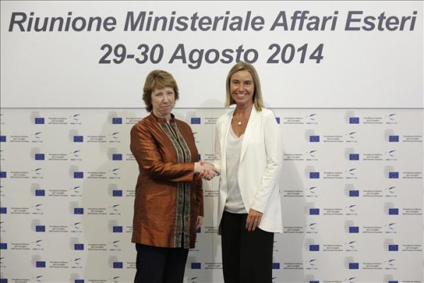 Ashton and Mogherini photo Italian foreign ministry