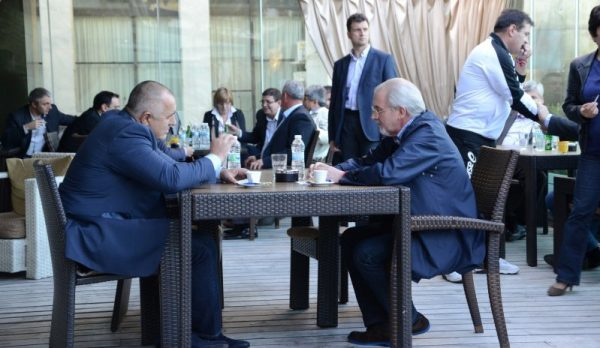 Borissov, left, meeting Mestan for a coffee in March 2014. Photo: gerb.bg
