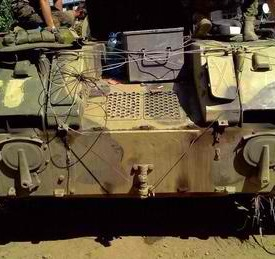 One of two Russian APCs captured by Ukrainian soldiers near Luhansk