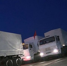 Russia white trucks convoy