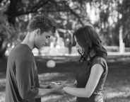 Still of Odeya Rush and Brenton Thwaites in The Giver. Photo by David Bloomer - © 2014 The Weinstein Company. All Rights Reserved.