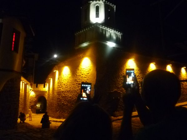 Photographing the 'Super Moon' in the Old Town of Plovdiv, summer 2014.