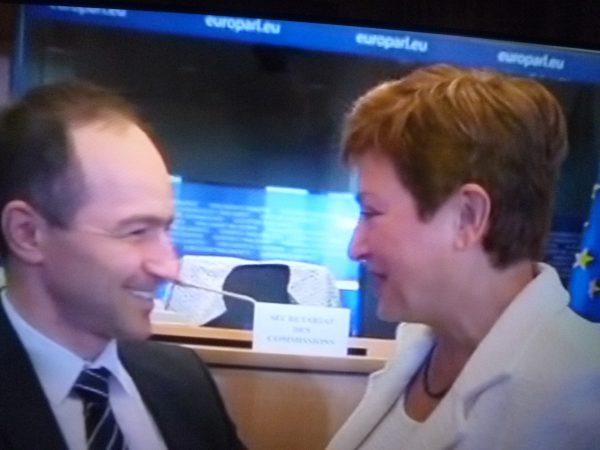 Ahead of the hearing, Bulgarian MEP Andrey Kovachev in conversation with Georgieva.