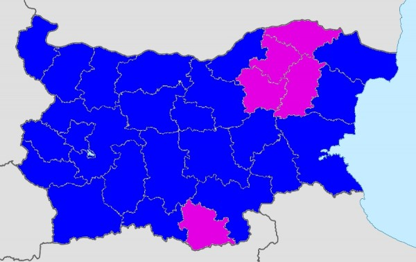 Preliminary results for Bulgaria's 2014 Parliament elections. Districts won by GERB are in blue and MRF in purple. For comparison to the 2013 parliamentary elections in Bulgaria, click here, and for comparison to the 2014 European Parliament elections, click here.