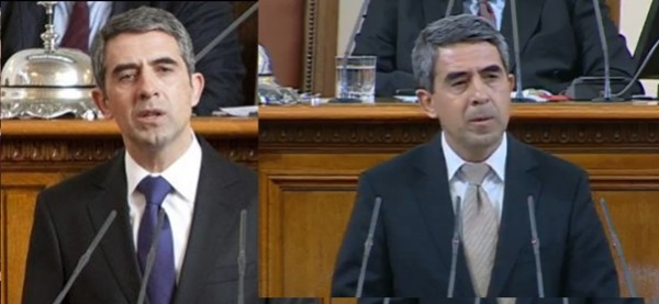Plevneliev at the speaker's podium in January 2012, left, and in October 2014.