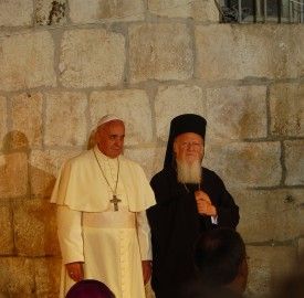 Pope Francis meeting with Patriarch Bartholomew I in the Church of the Holy Sepulchre during his 2014 pilgrimage to the Holy Land photo Nir Hason